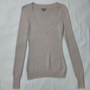 EXPRESS Tan Long Sleeve Comfy V-Neck Sweater Top